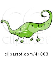 Clipart Illustration Of A Sketched Green Diplodocus by Prawny