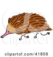 Clipart Illustration Of A Sketched Brown Echidna
