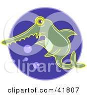 Clipart Illustration Of A Green Swordfish In Blue Water