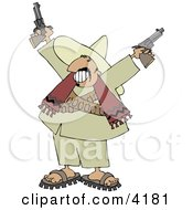 Bandito Pointing Pistols In The Air With A Smile On His Face Clipart by Dennis Cox