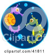 Clipart Illustration Of A Pair Of Colorful Seahorses With Bubbles In Blue Water by Prawny