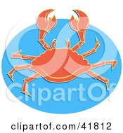 Clipart Illustration Of An Alert Orange Crab Holding His Claws Up On Blue by Prawny