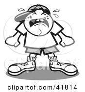Clipart Illustration Of A Bratty Boy Throwing A Tantrum And Crying