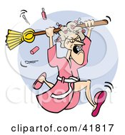 Angry Granny In A Robe Dropping Curlers While Chasing Someone With A Broom