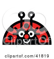 Clipart Illustration Of A Friendly Female Ladybug Smiling by Andy Nortnik