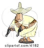 Bandit Pointing His Pistols Towards The Ground Clipart by Dennis Cox