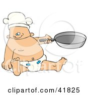 Baby Boy Chef In A Diaper And Hat Holding A Pan