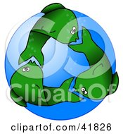 Clipart Illustration Of Circling Green Fish Underwater Resembling A Recycle Symbol