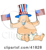 Clipart Illustration Of An Uncle Sam Baby Boy In A Diaper Waving American Flags by Dennis Cox