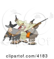 Banditos Shooting Pistols And Rifles Clipart by djart