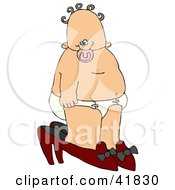 Clipart Illustration Of A Curly Haired Baby Girl In A Diaper Walking In High Heels