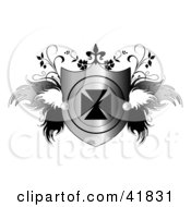 Clipart Illustration Of A Shiny Heraldic Shield With An Iron Cross And Feathery Wings And Vines by C Charley-Franzwa #COLLC41831-0078