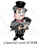 Clipart Illustration Of A Gentleman In A Black Suit And Red Bow Tie