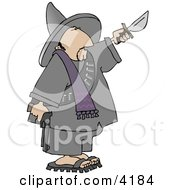 Bandito Holding A Gun And Knife Clipart by Dennis Cox