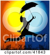 Clipart Illustration Of A Black Silhouetted Woman Leaping With An Umbrella From Day Into Night