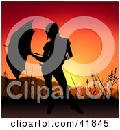 Clipart Illustration Of A Black Silhouetted Woman With An Umbrella Against A Sunset by dero