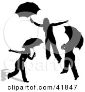 Clipart Illustration Of Three Black Silhouetted Women Playing With Umbrellas by dero