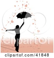 Clipart Illustration Of A Black Silhouetted Woman Under An Umbrella In A Shower Of Hearts