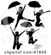 Clipart Illustration Of Four Silhouetted Women Jumping With Umbrellas