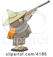 Bandito Aiming A Rifle And Getting Ready To Shoot Clipart by Dennis Cox