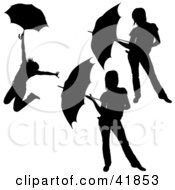 Clipart Illustration Of Three Black Silhouetted Women Posing With Umbrellas by dero