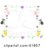 Clipart Illustration Of A Pig Cat And Chick Floral Stationery Border