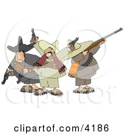 Riled Up Mexican Banditos Pointing Guns And Rifles Clipart by Dennis Cox