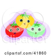 Clipart Illustration Of Happy Yellow Green And Red Tomatoes by bpearth