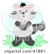 Clipart Illustration Of A Sweet Raccoon Holding Flowers by bpearth