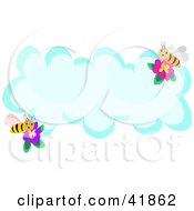 Clipart Illustration Of Two Bees With Flowers On A Blank Cloud With Text Space