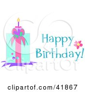 Clipart Illustration Of A Happy Birthday Greeting With A Present by bpearth