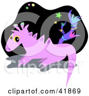 Clipart Illustration Of A Purple Alien Dragon In Outer Space by bpearth