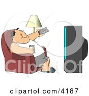 Man Sitting On A Couch Channel Surfing The TV And Drinking Beer Clipart