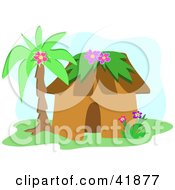 Clipart Illustration Of A Tropical Hut Under A Palm Tree