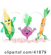 Clipart Illustration Of A Happy Corn Turnip And Carrot