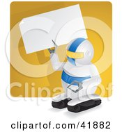 Clipart Illustration of a Compact Robot Holding Up A Blank Sign In Front Of A Yellow Wall by Paulo Resende