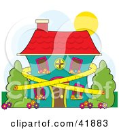 Clipart Illustration Of A Tape Measure Around A Two Story Home Symbolizing Conservation And Dieting by Maria Bell