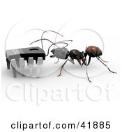 Clipart Illustration Of A Worker Ant Talking To A Micro Chip