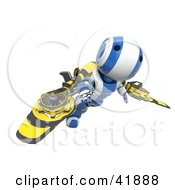 Clipart Illustration Of A 3d Blue And White AO Maru Robot Flying With Mechanical Wings
