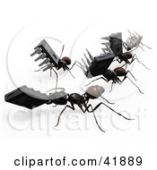 Clipart Illustration Of 3d Worker Ants Carrying Micro Chips