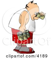 Man Drinking A Six Pack Of Beer Clipart