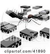 Clipart Illustration Of A Worker Ant Organizing Microchips by Leo Blanchette