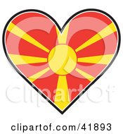 Clipart Illustration Of A Heart Shaped Macedonia Flag With The Sun