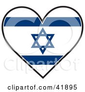 Heart Shaped Israel Flag With The Star Of David
