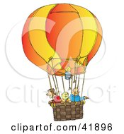 Clipart Illustration Of Three People Riding In A Hot Air Balloon by Snowy
