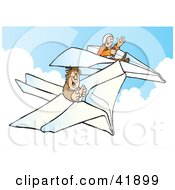 Clipart Illustration Of Two Happy Pilots Flying Paper Planes In The Sky by Snowy