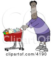 Ethnic Man Grocery Shopping At His Local Food Store Clipart