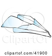 Clipart Illustration Of A Flying Paper Airplane by Snowy