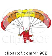 Clipart Illustration Of A Happy Paraglider Connected To A Parachute