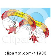 Clipart Illustration Of Two Paragliders In The Sky by Snowy